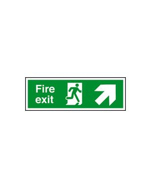 Fire Exit Diagonal Up Right Arrow Sign 400 x 150MM