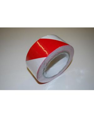 33 Metres of red and white self adhesive hazard tape