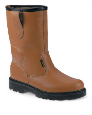 SS403SM Fur lined Tan Leather Safety Rigger Boots