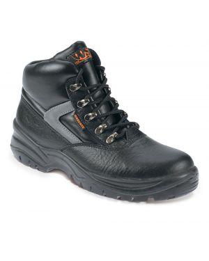 SS601 Worksite Black Leather Boots With Reflective Flash