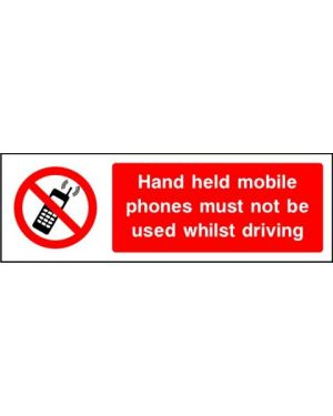 SSPROHG0012 | Prohibition: hand held mobile phones must not be used whilst driving