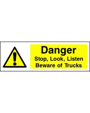 SSWARNG0006 | Warning: Danger stop, look, listen Beware of trucks