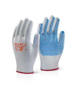 Nylon Multi Purpose, PVC Dotted Palm Gloves ( PACK OF 10 )